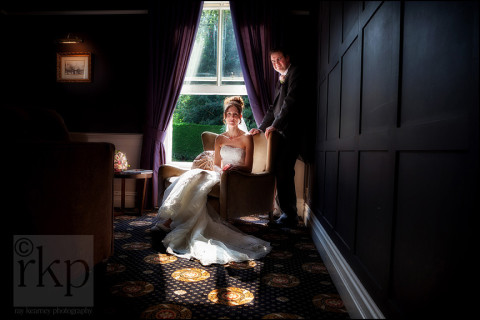 Bride and Groom in the sunshine at Bartle Hall