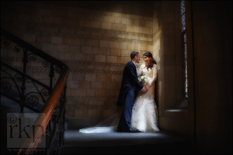 Bride and Groom on basement stairs, Manchester Town Hall