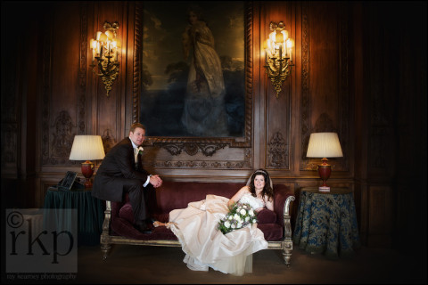 Bride and Groom relaxing at Knowsley Hall