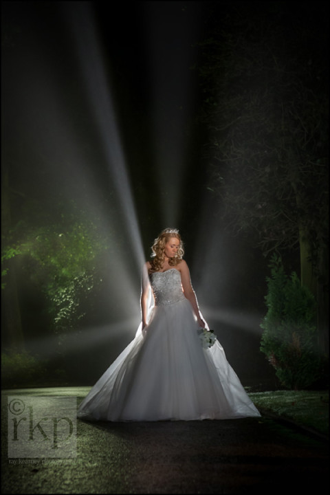 Bride backlit at Mere Court Hotel, Bucklow Hill