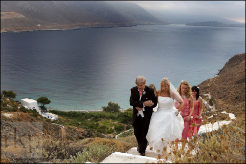 Bride arriving at Greek church on Amorgos