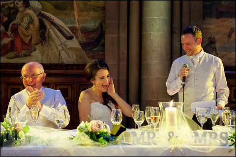 Groom making Bride laugh with his speech, Manchester Town Hall
